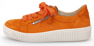 Gabor 43.334.13 Ladies Orange Suede Casual Lace Up Trainer