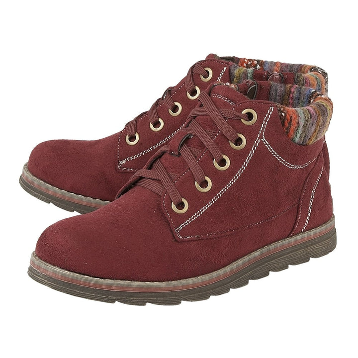 Lotus Sequoia Bordo Textile Lace Up Ankle Boots - elevate your sole