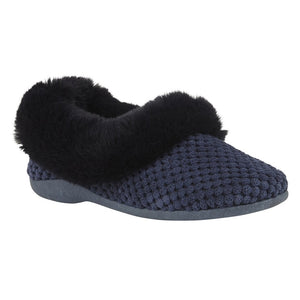 Lotus Nora Ladies Navy Faux Fur Trim Slipper