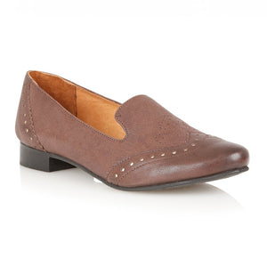Lotus Edge Brown Leather Flat Shoes - elevate your sole