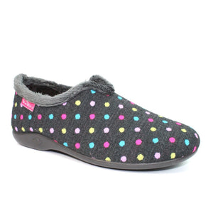 Lunar Lava KLA112 Ladies Black Polka Dot High Back Slippers