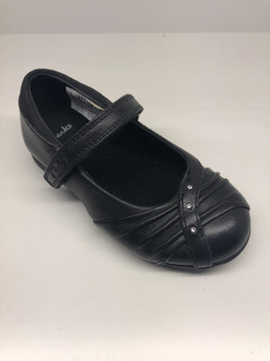 Clarks Dolly Shy Girls Black Leather Shoes