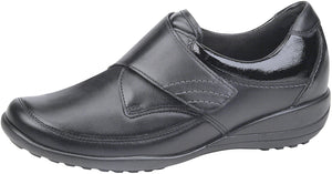 Waldlaufer K01304 Katja Soft Black Leather Hook And Loop Shoes K Fit - elevate your sole