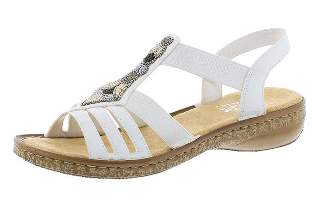 Rieker 628G5-80 Ladies White Beaded Sandals