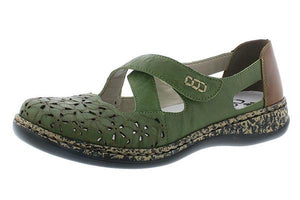 Rieker 463H4-52 Ladies Green Leather Sandals - elevate your sole