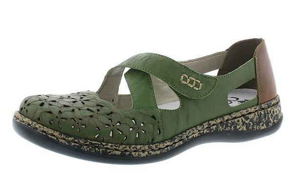 Rieker 463H4-52 Ladies Green Leather Sandals
