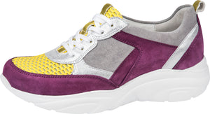 Waldlaufer 740001 601 270 H Anita Ladies Yellow Purple Grey Lace Up Trainers