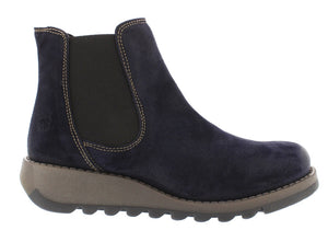 Fly Salv Ladies Oil Suede Navy Leather Ankle Chelsea Boot