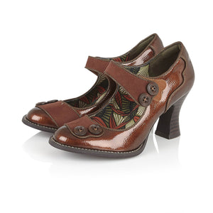 Ruby Shoo Penny Ladies Bronze Patent Court Shoes