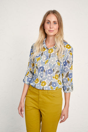 Seasalt Larissa Shirt Ladies Chalked Blooms Wild Pansy