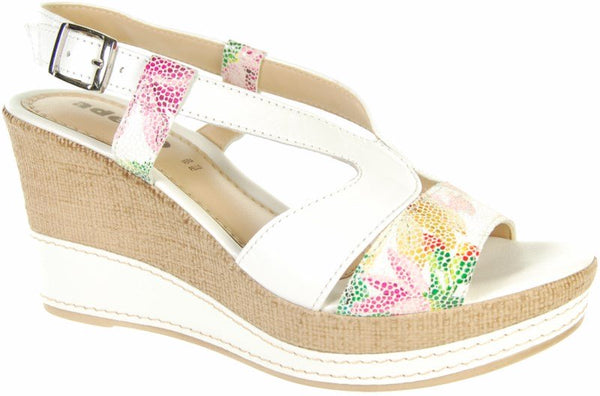 Adesso A3609 Jamila White Floral Print Leather Sandals