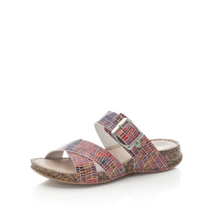 Rieker 61198-90 Ladies Red-Multi Mule Sandal
