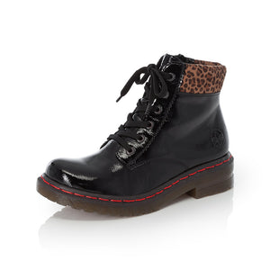 Rieker 76212-00 Ladies Black With Leopard Print Collar Lace Up Military Style Ankle Boots