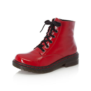 Rieker 76240-35 Ladies Red Patent Lace Up Military Style Ankle Boots
