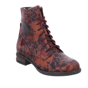 Josef Seibel Sanja 01 Carmin Red Floral Leather Lace Zip Up Combat Boots - elevate your sole