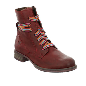 Josef Seibel Sanja 04 Ladies Bordo Red Leather Lace Up Ankle Boots