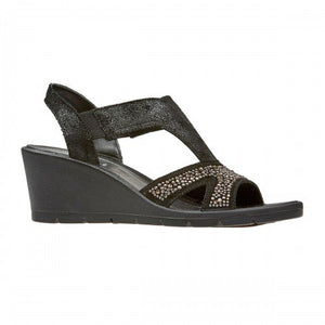 Van Dal Beta Black Metallic Leather Sandals - elevate your sole