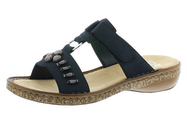 Rieker 62891-14 Ladies Dark Blue Slip On Sandals