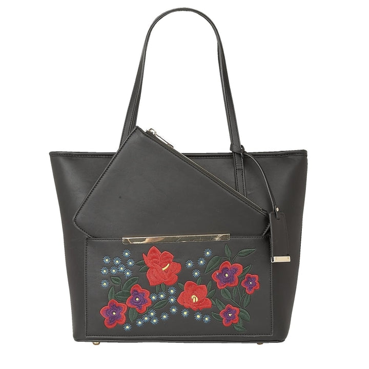 Lotus Matisse Black & Red Embroidered Tote Bag - elevate your sole