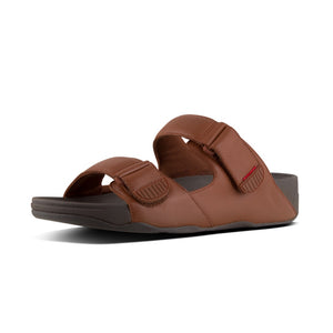 Fitflop L05-277 Gogh Moc Mens Dark Tan Leather Slide Sandals