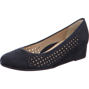 Ara 12 14316 Livorno Ladies Navy Nubuck Slip On Shoe