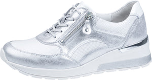 Waldlaufer 939011 301 989 H Clara Silver/White Ladies Leather Trainers