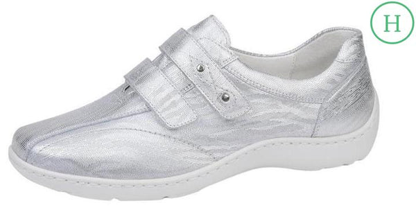 Waldlaufer 496301 133 140 Henni double velcro shoe in patterned silver sky blue leather