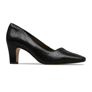 Van Dal Ophelia Black Crackle Print Leather Court Shoes EE