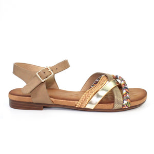 Lunar JLH 034 Louisa Brown Multi Ladies Flat Buckle Sandal