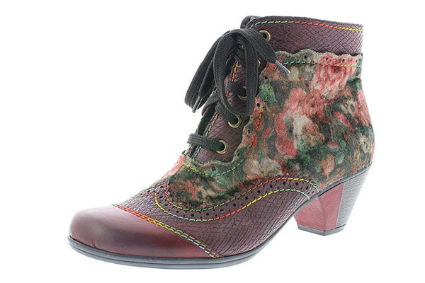 Rieker Y7213-34 Ladies Red Floral Ankle Boots