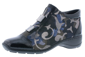 Rieker 58398-00 Black Combi Army Print Leather Zip Up Ankle Boots
