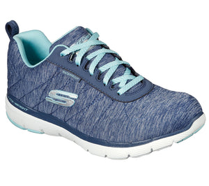 Skechers 88888400 Flex Appeal 3.0 Jer'see Ladies Navy Light Blue Lace Up Trainers