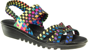 Adesso Flair A4337 Black/Tutti Frutti Elasicated Wedge Sandal - elevate your sole