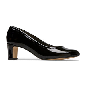 Van Dal Lorne X Black Patent Leather Wider Fitting Court Shoes EE