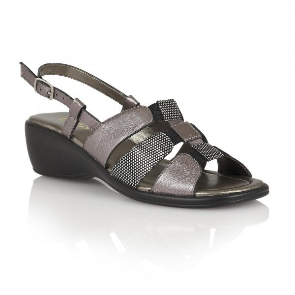 Lotus Lantic Pewter Leather Sling Back Sandals - elevate your sole