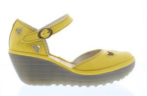 Fly Yuna Ladies Yellow Leather Closed Toe Wedge Shoes
