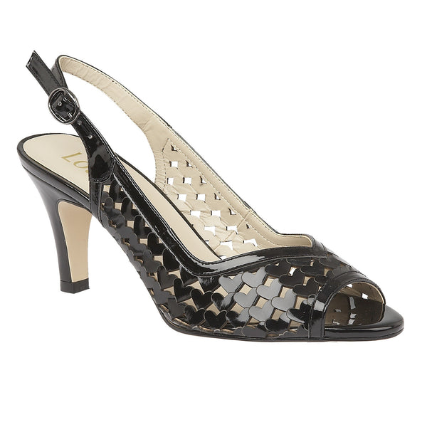 Lotus Canaan Black Shiny Slingback Sandals