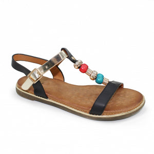 Lunar JLH023 Amara Black Multi Flat Buckle Ladies Sandal