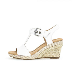 Gabor 22.824.50 White Leather Buckle Wedges - elevate your sole