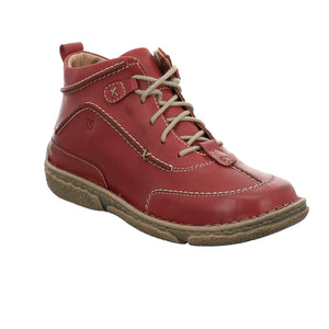 Josef Seibel Neele 52 Ladies Hibiscus Red Leather Lace Up Boots