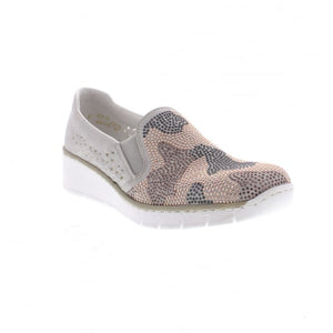 Rieker 537T1-40 Grey Pink Multi Sequin Slip On Loafers