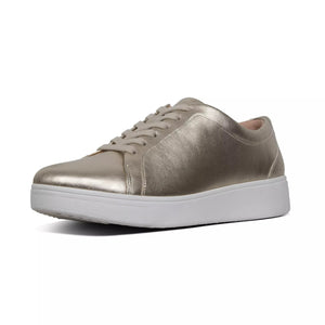 FitFlop X22-675 Rally Platino Metallic Leather Ladies Lace Up Sneaker Shoes - elevate your sole