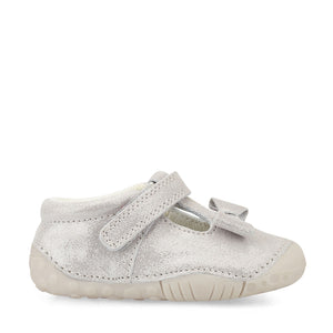 Start-Rite Wiggle 0765-5 Girls Pale Grey Glitter Leather Pre Walker
