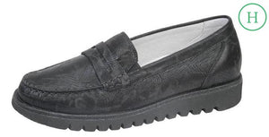 Waldlaufer 926504 Habea Black Glitter Print Leather Moccasin - elevate your sole
