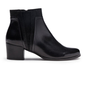 Regarde Le Ciel Isabel 50 3734 Stream Black Leather Low Heel Dressy Ankle Boots