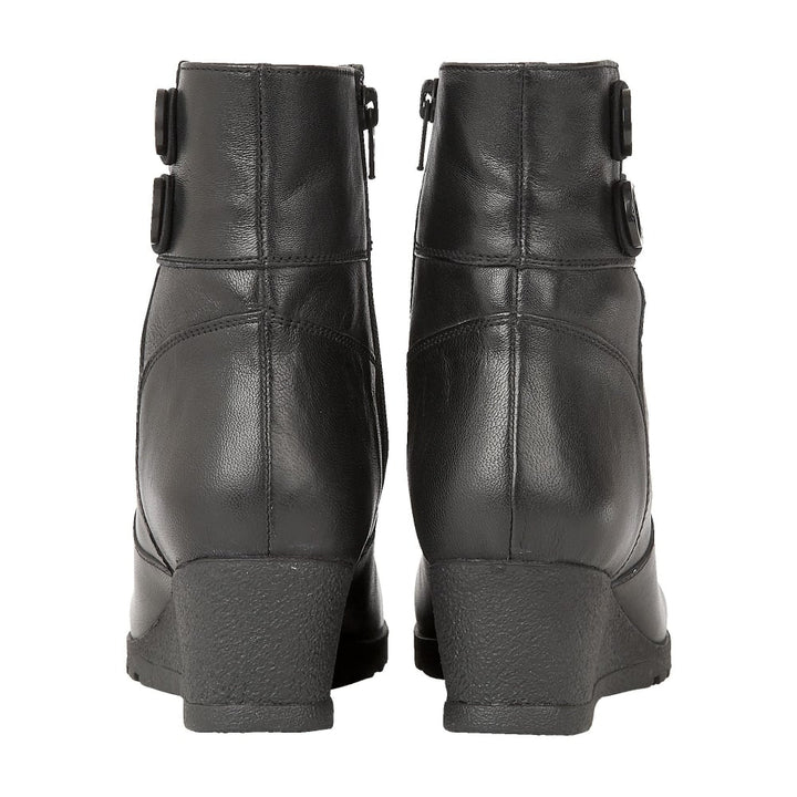Lotus Bopty Black Leather Wedge Ankle Boots - elevate your sole