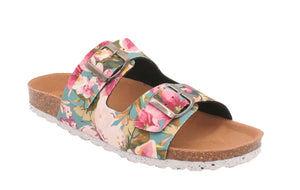 Oxygen Coral Floral Recycled Adjustable Strap Mules