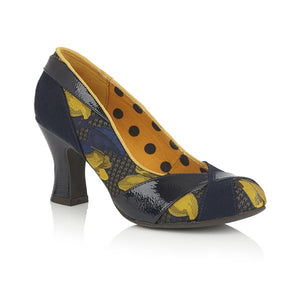 Ruby Shoo Lulu Ladies Navy and Mustard Vegan Court Shoes