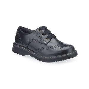 Start-Rite Impulsive 3505-7 Girls Black Leather Brogue Lace- Up School Shoe
