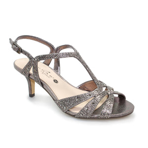 Lunar FLR 524 Francie Ladies Pewter Glitz Wide Fit Evening Sandal